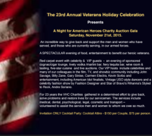 "Please join us for ""A NIGHT FOR HEROES"" the 23rd Annual Veteran's Holiday Celebration – November 21st, SATURDAY at 6 pm"